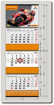 3-ų dalių kalendorius su papildomais intarpais